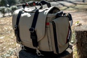 The Domke Next Generation Director photography bag has rugged expandable zippered pockets and customizable divider panels on the interior. (AP Photo/Ron Harris)