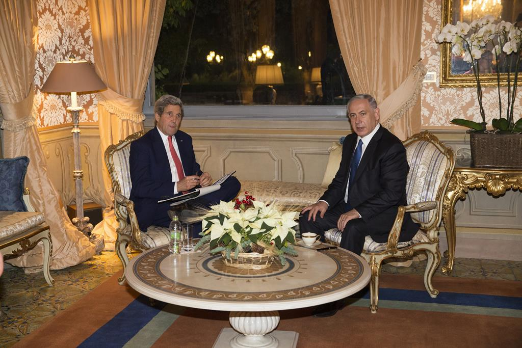 Secretary of State John Kerry (L) meets with Israeli Prime Minister Benjamin Netanyahu at Villa Taverna, in Rome, Monday. (AP Photo/Evan Vucci)