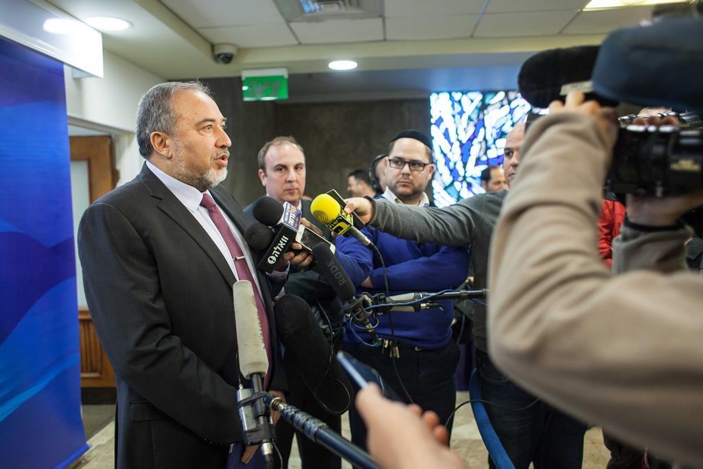 Israeli Foreign Minister Avigdor Lieberman speaking to the media on Sunday. (Emil Salman/POOL)