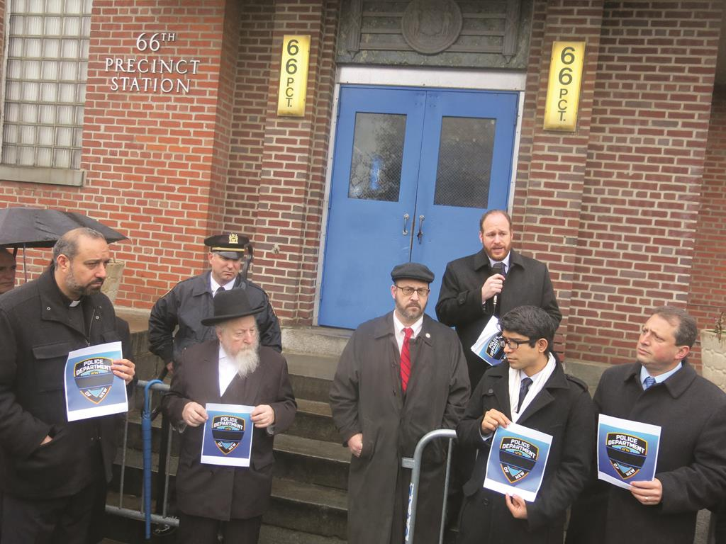 Councilman Greenfield speaks out forcefully in support of the NYPD at a rally with Senator Felder, Councilmembers Lander and Menchaca, police and community leaders, including Rabbi Chaim Baruch Gluck (2nd L).