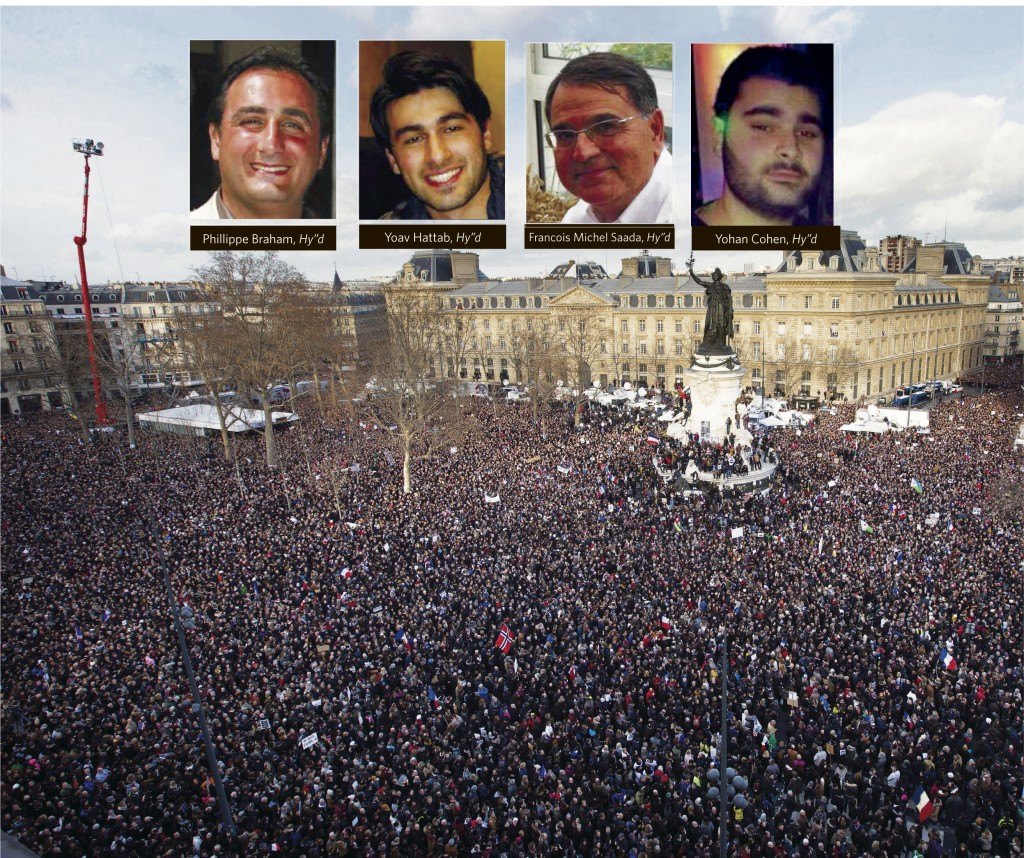 The scene at Republique square in Paris, France, on Sunday. More than a million people gathered in Paris to rally against terrorism.  (AP Photo/Peter Dejong)