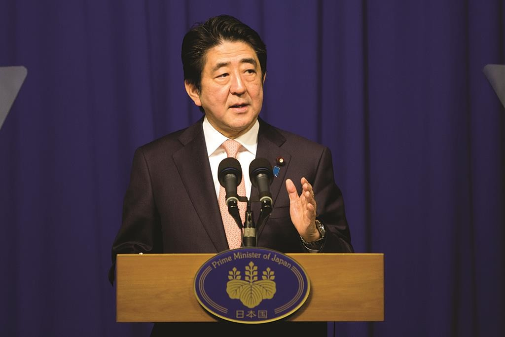 Japan's Prime Minister Shinzo Abe speaks during a press conference in Yerushalayim, Tuesday. (AP Photo/Sebastian Scheiner)