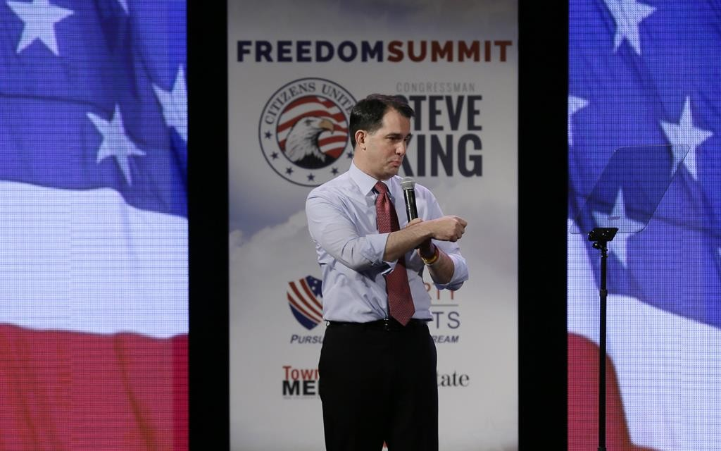 Wisconsin Gov. Scott Walker speaks during the Freedom Summit, this past weekend, in Des Moines, Iowa.  (AP Photo/Charlie Neibergall)