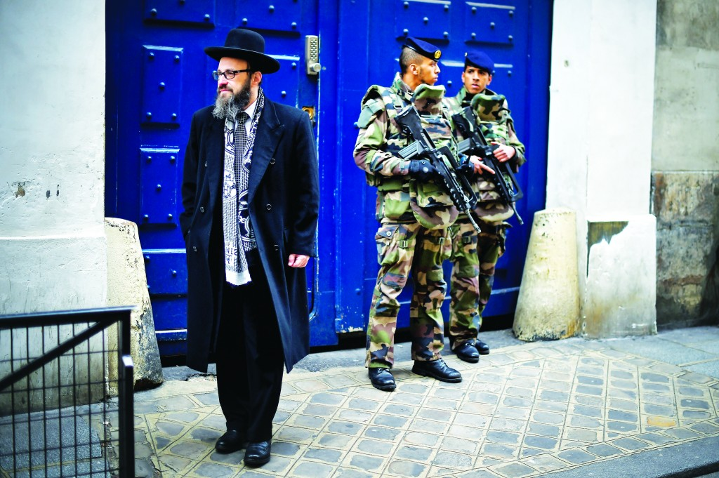 Outside a school in the Jewish quarter of the Marais district, January 13, 2015 in Paris, France.   (Jeff J Mitchell/Getty Images)