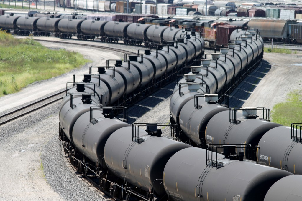 BNSF crude-oil trains pass each other in Galesburg, Ill. (Curtis Tate/McClatchy DC/TNS)