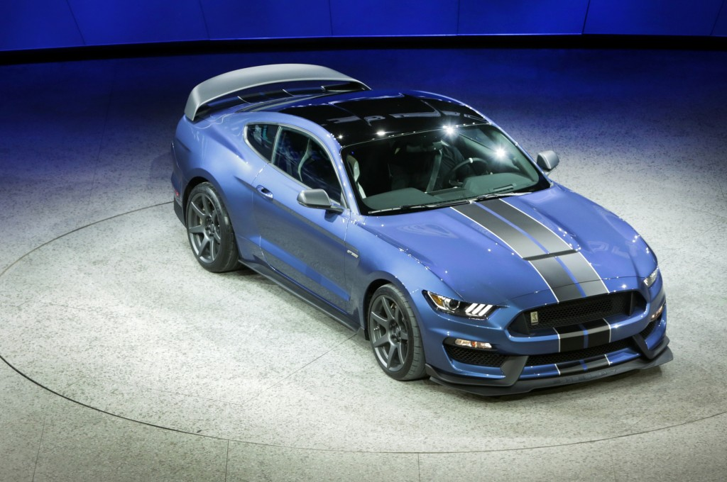 The Ford Shelby GT350R Mustang is introduced at the 2015 North American International Auto Show at Cobo Center on Monday, Jan. 12, 2015 in Detroit. (Diane Weiss/Detroit Free Press/TNS)