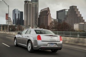 "For 2015, the Chrysler 300 brings some updates for the first time in four years, including refinements to the front and rear fascia harking back to the more-classic 1955 and 2005 models, in what the design team calls ""heritage styling."" (A. J. Mueller/Chrysler)"