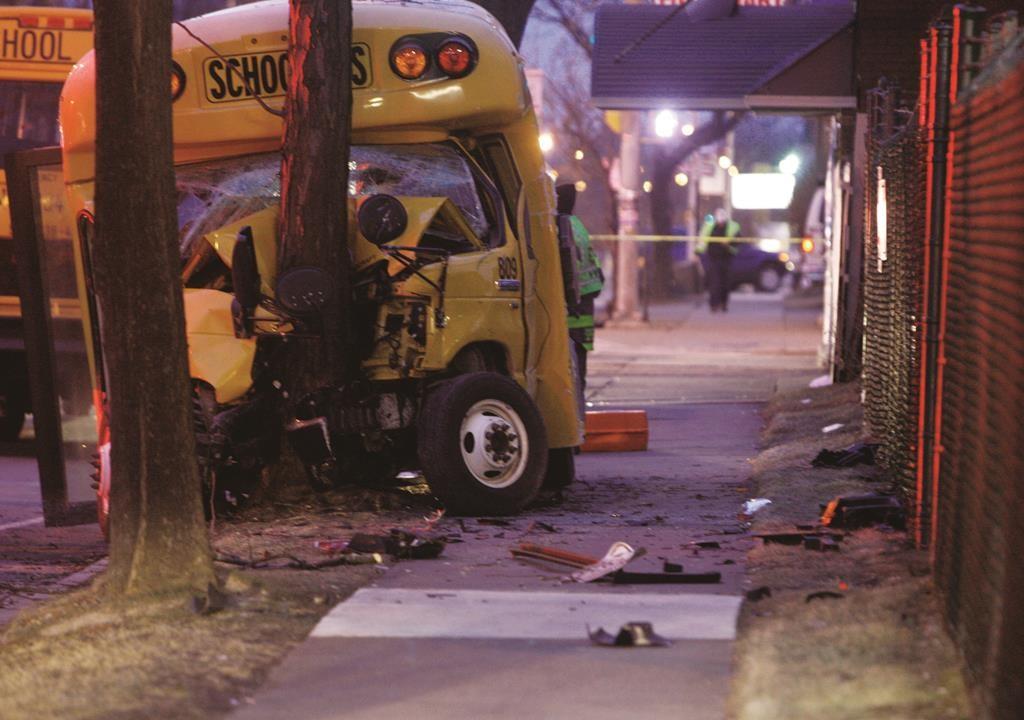 The scene of school bus crash Tuesday in Rochester. (AP Photo/Democrat & Chronicle, Tina Macintyre-Yee)