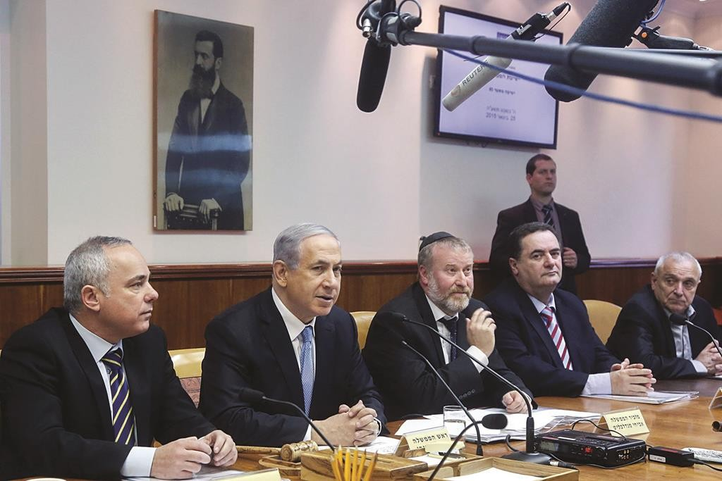 Israeli Prime Minister Binyamin Netanyahu presiding over the weekly cabinet meeting on Sunday. (Marc Israel Sellem/POOL)