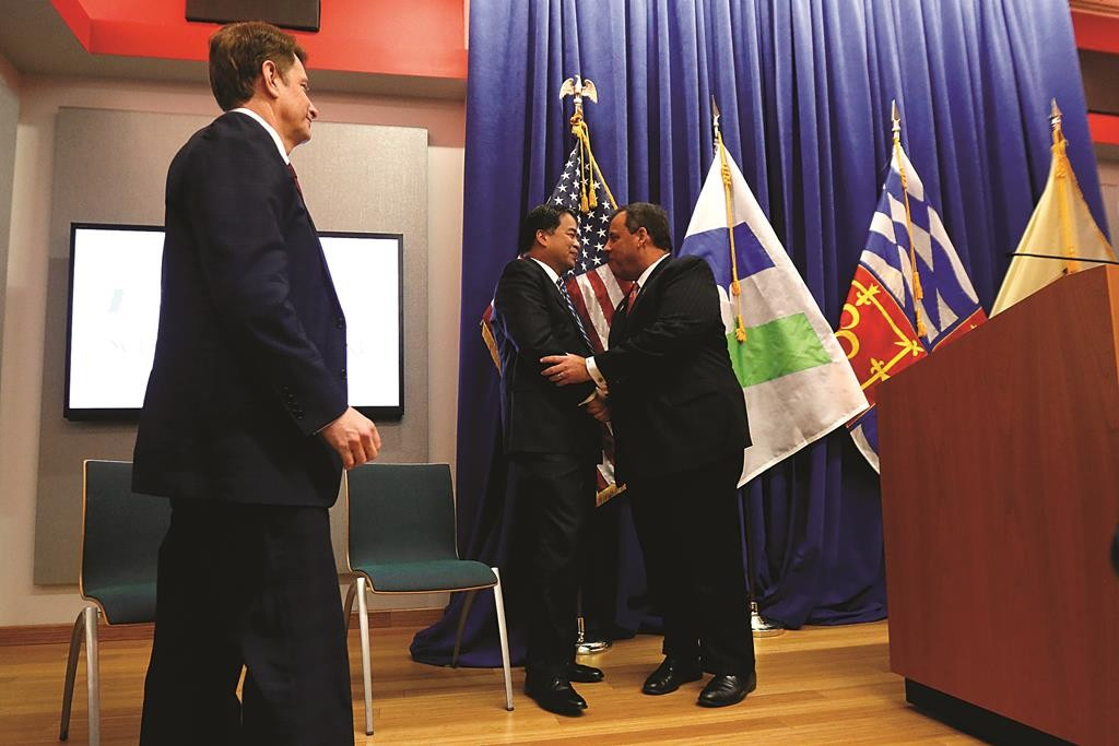 Gov. Chris Christie (R) at an announcement Thursday that Seton Hall and the parent company of Hackensack University Medical Center will build a private medical school. (AP Photo/Julio Cortez)