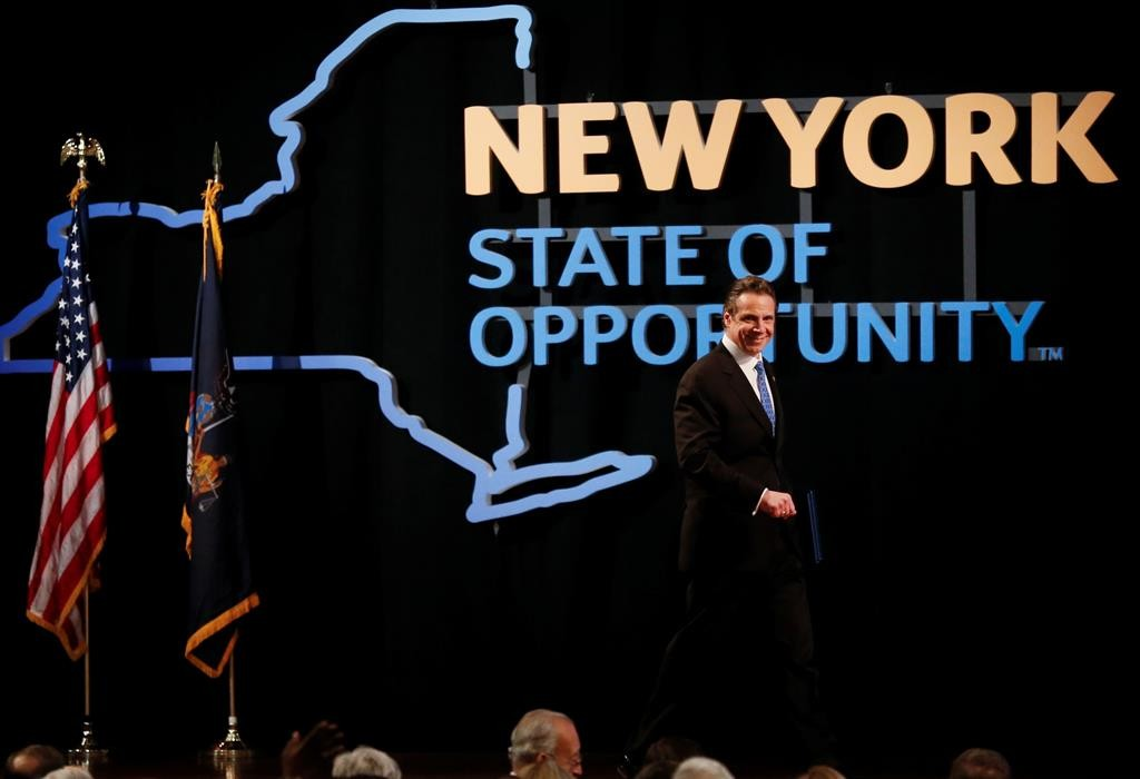 Gov. Andrew Cuomo on Wednesday delivers his State of the State address and executive budget proposal at the Empire State Plaza Convention Center in Albany. (AP Photo/Mike Groll)
