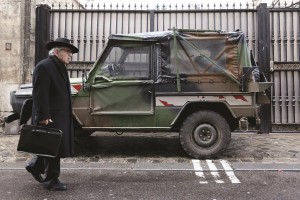 A camouflaged military jeep is parked on the street in a Jewish neighborhood in Paris. (REUTERS/Gonzalo Fuentes)