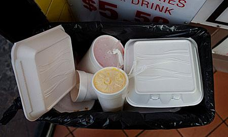 Foam products that will be banned at a New York City diner.