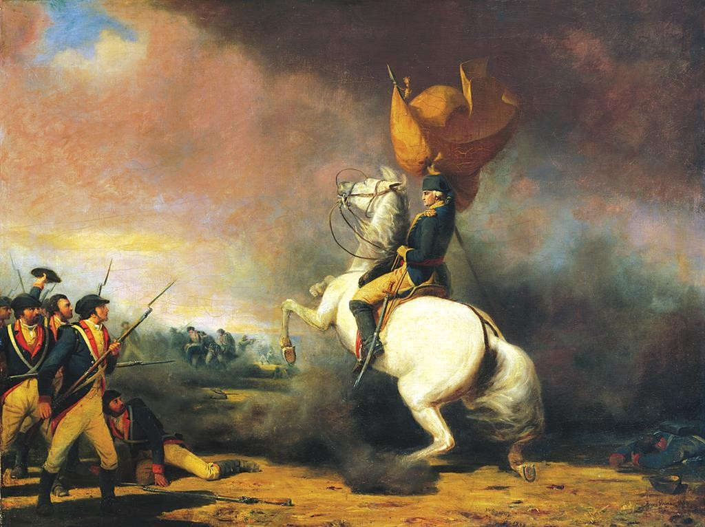 A painting of General George Washington rallying his troops at the Battle of Princeton. (Princeton University)