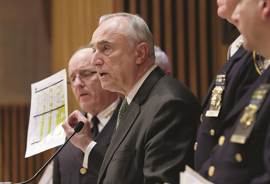 NYPD Commissioner William Bratton on Monday shows CompStat figures which indicate the police work slowdown is ending, during a news conference at police headquarters. (AP Photo/Richard Drew)