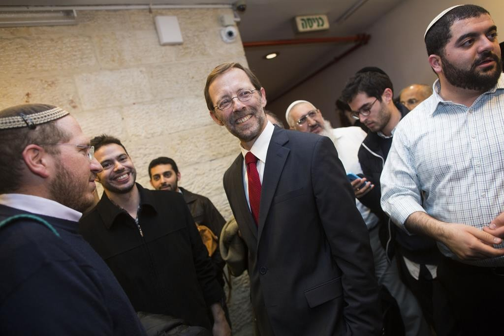 Former Likud MK Moshe Feiglin seen with his supporters during a conference in which he announced his departure from Likud.  (Yonatan Sindel/Flash90)