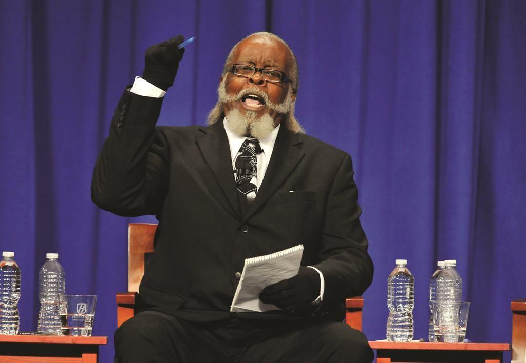 Jimmy McMillan during the New York state gubernatorial debate in 2010. (AP Photo/Kathy Kmonicek)