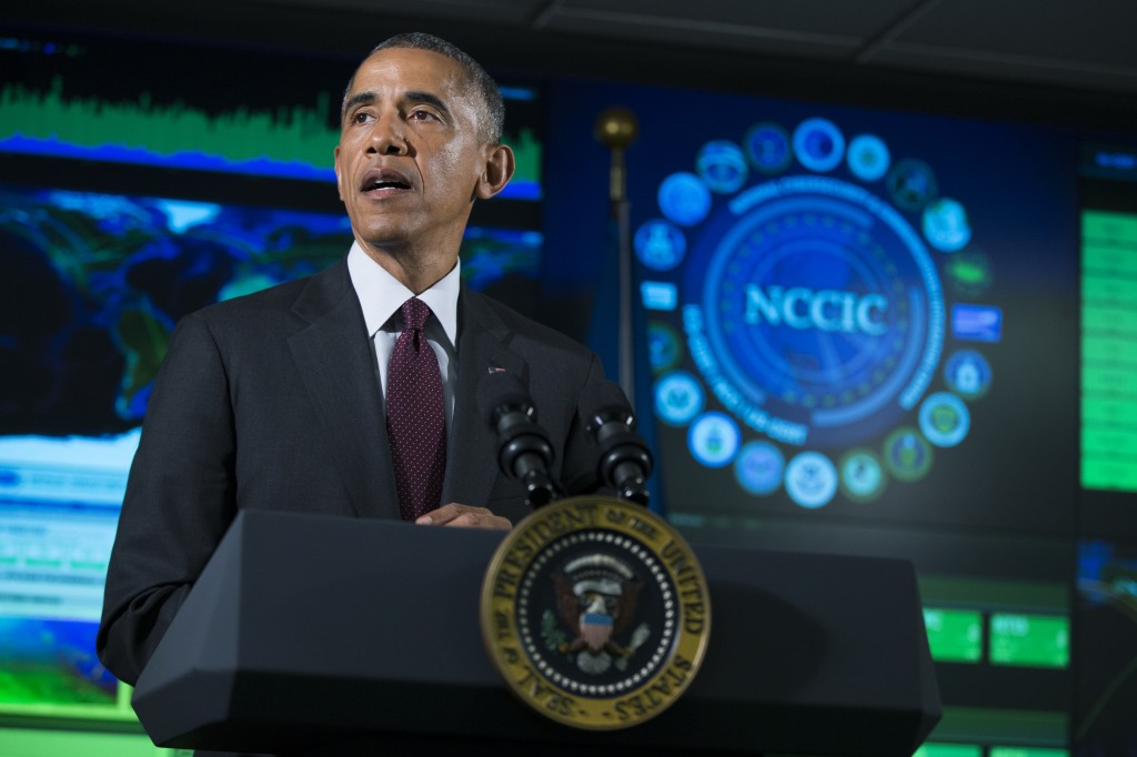 President Barack Obama speaks at the National Cybersecurity and Communications Integration Center in Arlington, Va., on Tuesday, Jan. 13, 2015. (AP Photo/Evan Vucci)