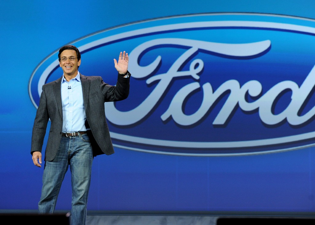 In this photo provided by Ford Motor Co., the company's President and CEO, Mark Fields, delivers the opening keynote address at the International Consumer Electronics Show in Las Vegas on Tuesday, Jan. 6, 2015. (AP Photo/Ford Motor Co., Sam VarnHagen)