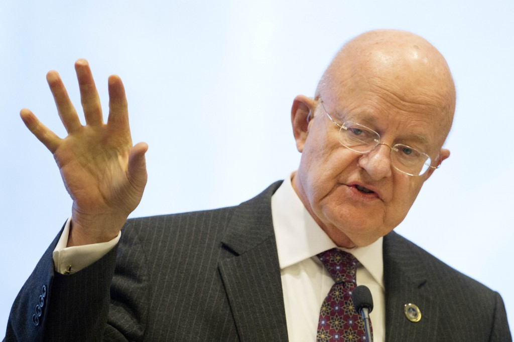 James Clapper, the Director of National Intelligence, speaks at the International Conference on Cyber Security at Fordham University in New York, on Wednesday, Jan. 7, 2015. (AP Photo/Mark Lennihan)