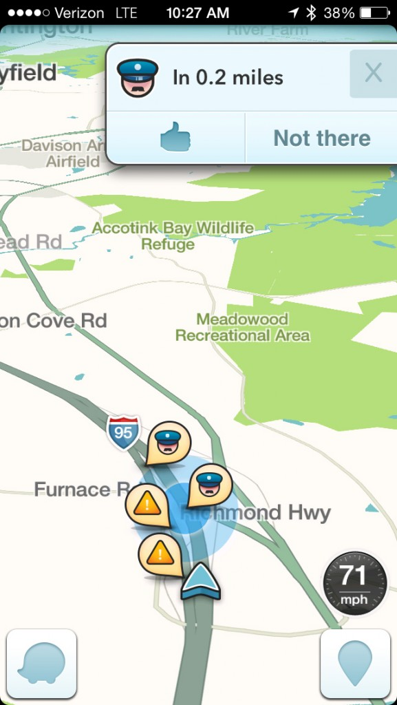 This image, taken from the Waze app on an iPhone in Washington, shows police at the scene on a map on the app. Sheriffs are campaigning to pressure Google Inc. to turn off a feature on its Waze traffic software that warns drivers when police are nearby. Authorities say one of the technology industry's most popular mobile apps could put officers' lives in danger from would-be cop-killers who can find where their targets are parked. (AP Photo/Ted Bridis)