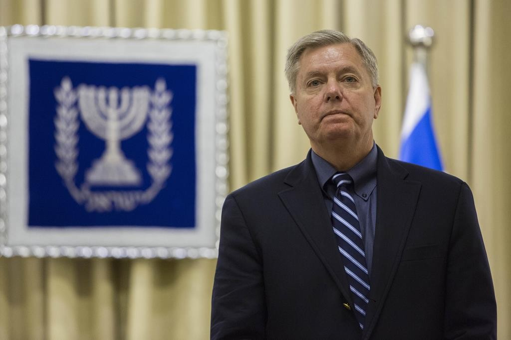 U.S. Senator Lindsey Graham (R) seen at the president's residence in Yerushalayim. (Yonatan Sindel/Flash90)