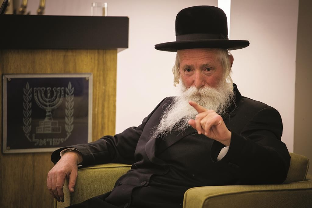 Rabbi Yitzchak Dovid Grossman speaks during the inauguration event for the new Yerushalayim Prize for Unity, at the president's residence on Thursday. (Hadas Parush/Flash90)