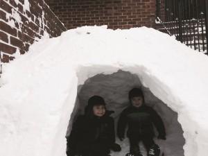 Sruly and Lipa Raab in their igloo. Brooklyn, N.Y.