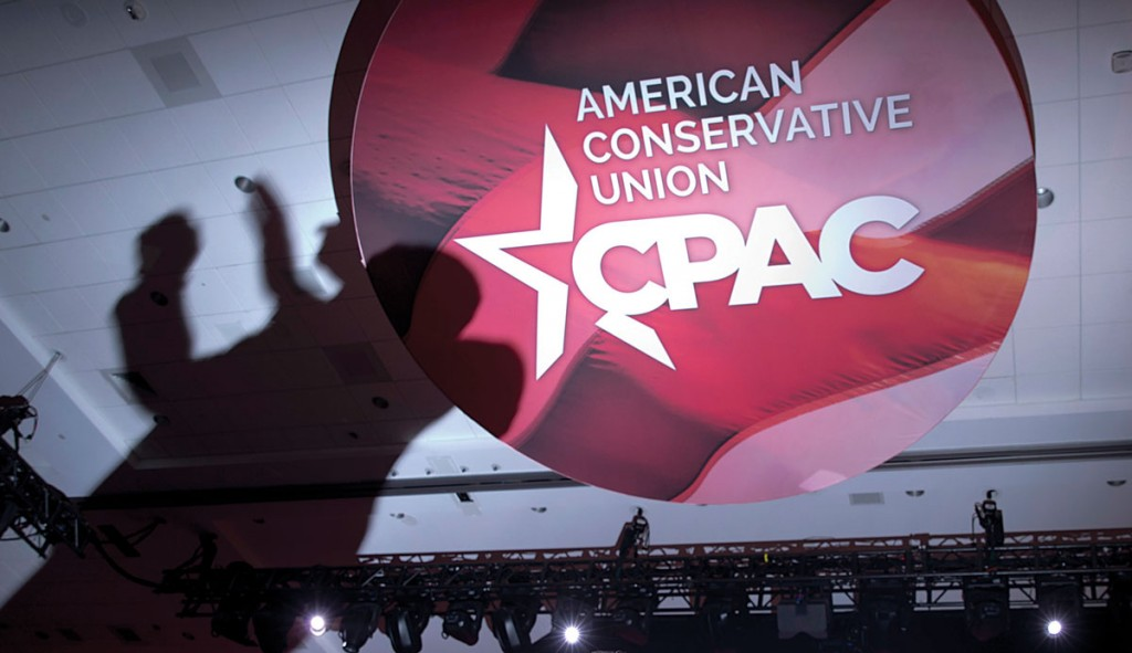 The Shadow of Sen. Ted Cruz (R-Texas) is cast onto the ceiling as he speaks during the Conservative Political Action Conference (CPAC) in National Harbor, Md., Thursday. (AP Photo/Carolyn Kaster)