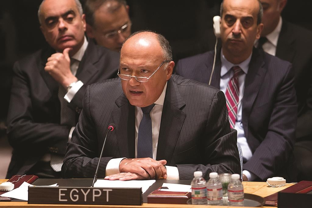 Egyptian Foreign Minister Sameh Shoukry speaks during a United Nations Security Council meeting about the situation in Libya in the Manhattan borough of New York Wednesday. Libya and Egypt asked the United Nations Security Council on Wednesday to lift an arms embargo on Libya and help it build its army so it can tackle Islamic State and other terrorist groups. (REUTERS/Carlo Allegri)