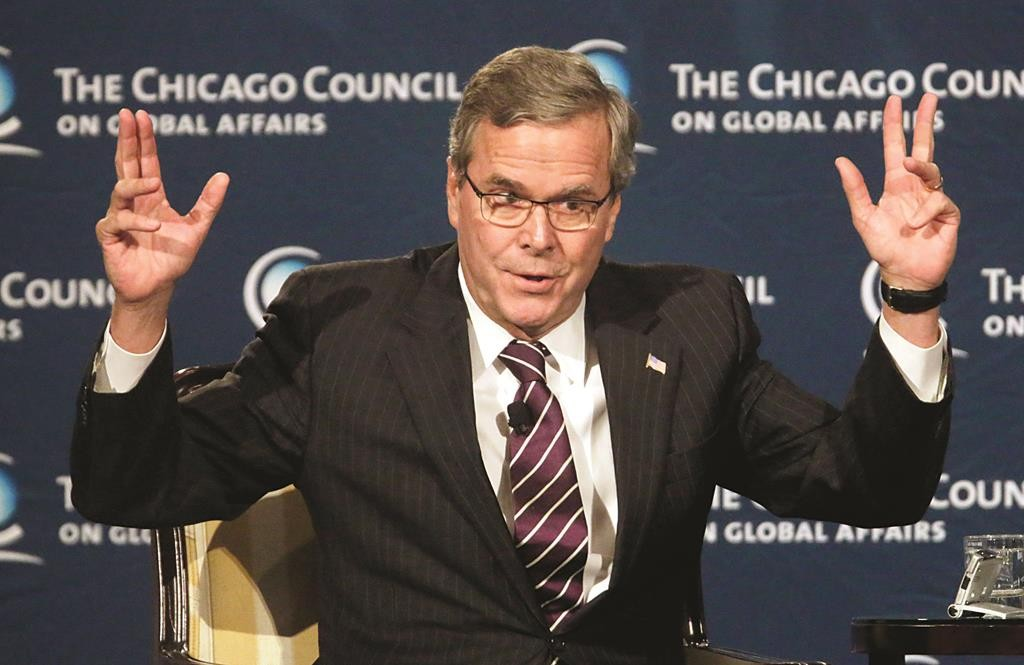 Former Florida Gov. Jeb. Bush answers questions after speaking to the Chicago Council on Global Affairs, Wednesday. (AP Photo/M. Spencer Green)