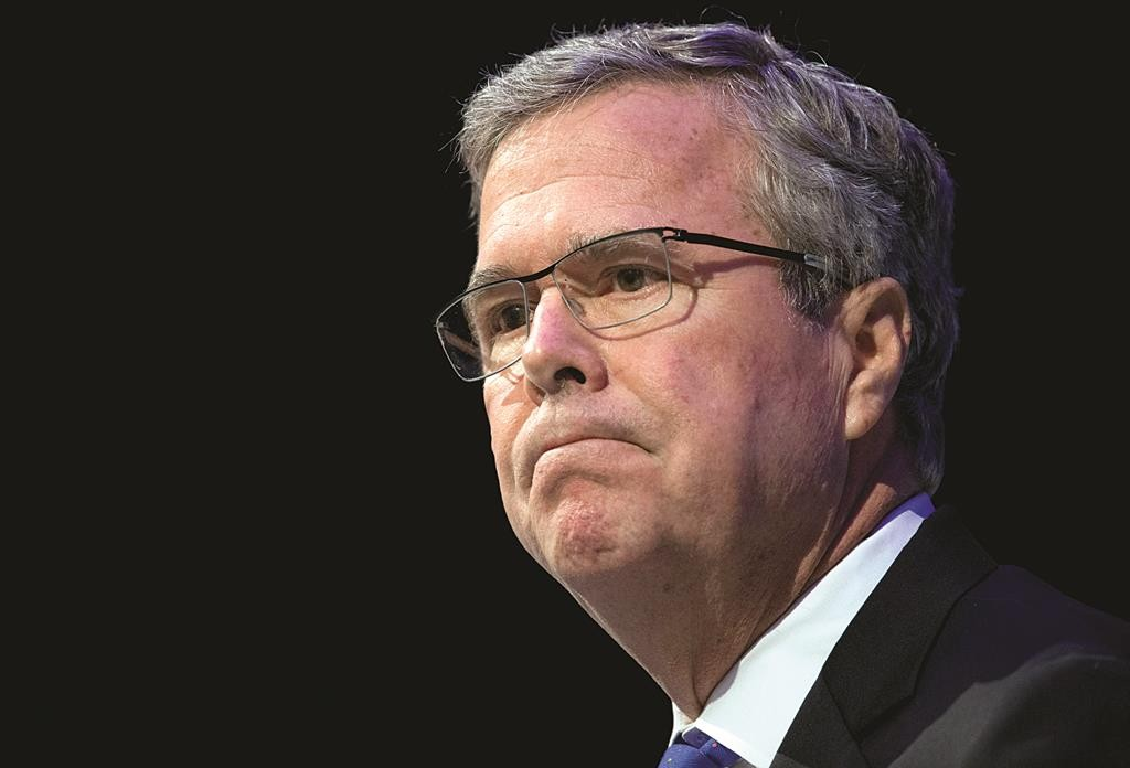 Former Florida Gov. Jeb Bush pauses while speaking at a Economic Club of Detroit meeting in Detroit Wednesday, Feb. 4, 2015.  (AP Photo/Paul Sancya)