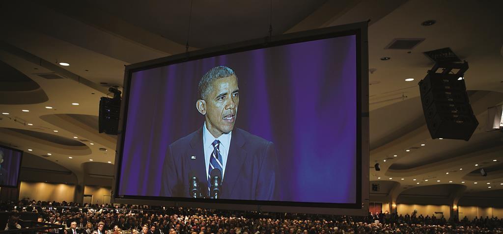Audience members look on as President Barack Obama speaks during the National Prayer Breakfast in Washington, Thursday. (AP Photo/Evan Vucci)