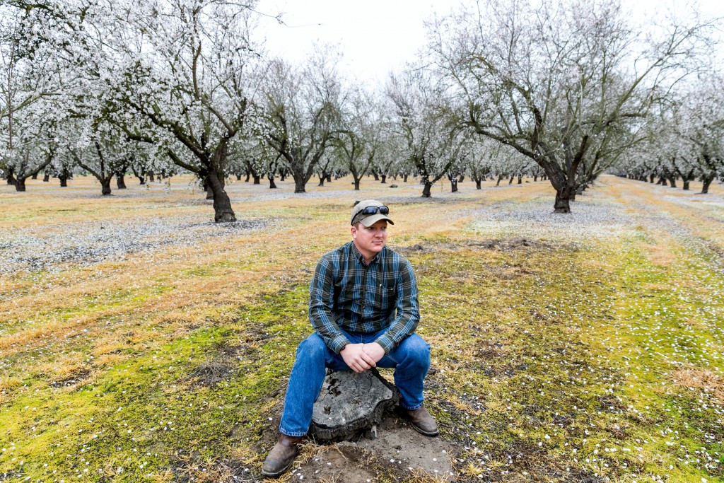 Jake Wenger poses for a portrait on an almond farm worked on by his family nut-farming business on Feb. 21, 2015 in Modesto, Calif. (Marcus Yam/Los Angeles Times/TNS)