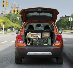 The 2015 Chevrolet Trax features 48.4 cubic feet of cargo space with the rear seat folded and 18.7 cubic feet of storage space behind the split-folding rear seatbacks. (TNS)