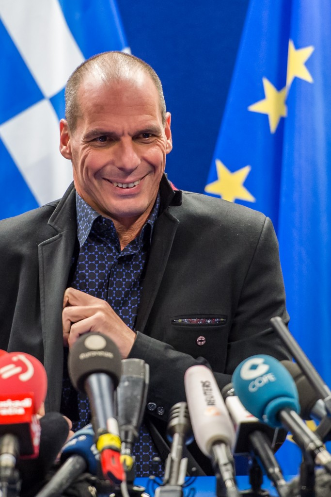 Greek Finance Minister Yanis Varoufakis addresses the media after a meeting of eurogroup finance ministers at the EU Council building in Brussels on Monday, Feb. 16, 2015. Greece's radical-left government and its European creditors headed into new talks Monday on the debt-heavy country's stuttering bailout program, but expectations are low despite a fast-approaching deadline for some kind of deal. (AP Photo/Geert Vanden Wijngaert)