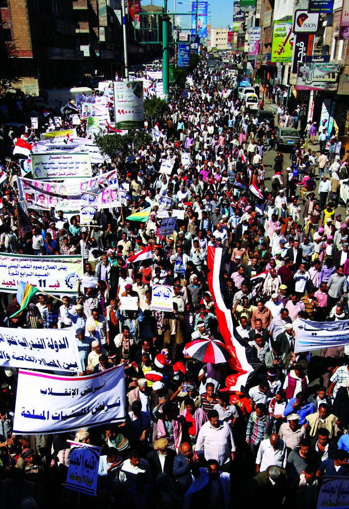 Protesting against Houthi Shiites who seized power in the capital, Sanaa, Wednesday. (AP Photo/Anees Mahyoub)
