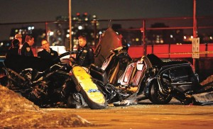 The scene of the crash in which Bob Simon was killed, on the West Side Highway of Manhattan, Wednesday night.