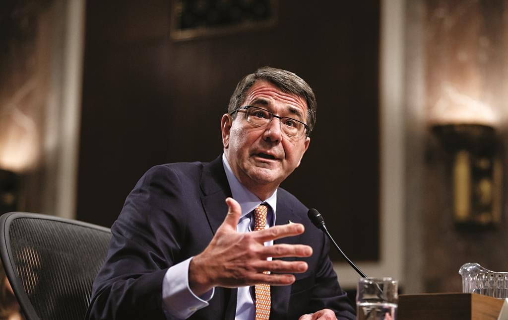 Ashton Carter, President Barack Obama's choice to be defense secretary, testifies before the Senate Armed Services Committee as the panel considers his nomination to replace Chuck Hagel as Pentagon chief, Wednesday, Feb. 4. (AP Photo/J. Scott Applewhite)