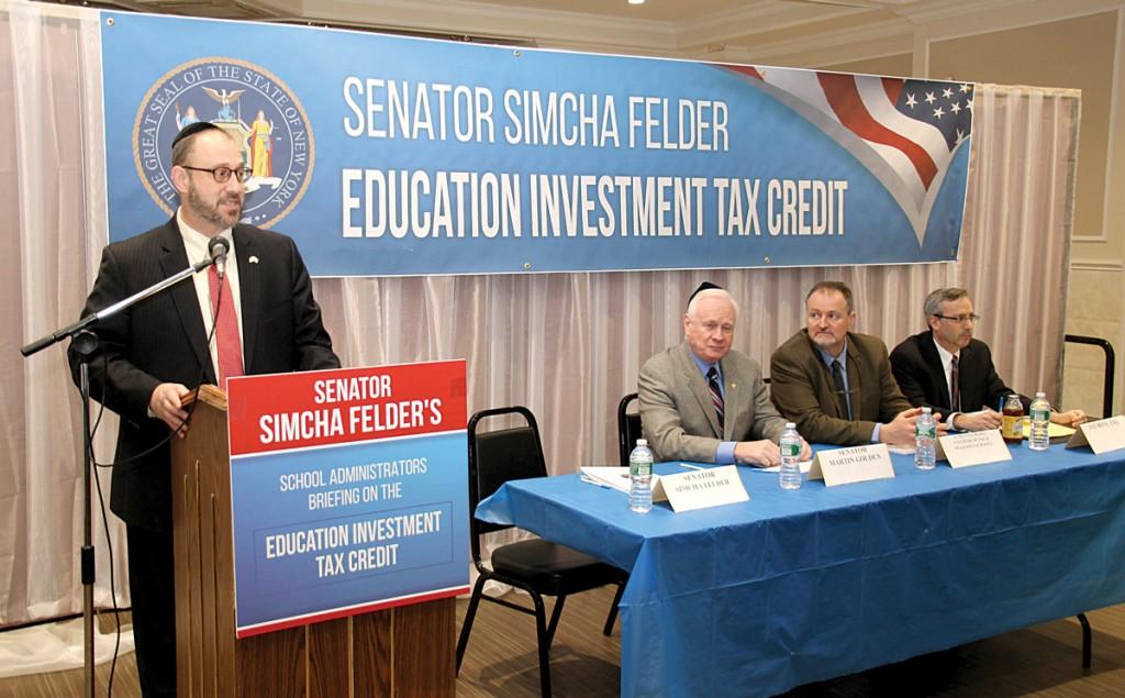 Sen. Simcha Felder on Monday discussing the tuition tax credit alongside Sen. Marty Golden, Jim Cultrara and Jay Bove. (Office of Sen. Felder)