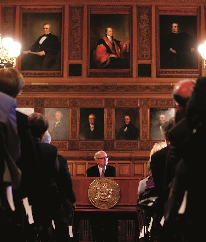Chief Judge Jonathan Lippman delivers his State of the Judiciary address Tuesday at the Court of Appeals in Albany. (AP Photo/Mike Groll)
