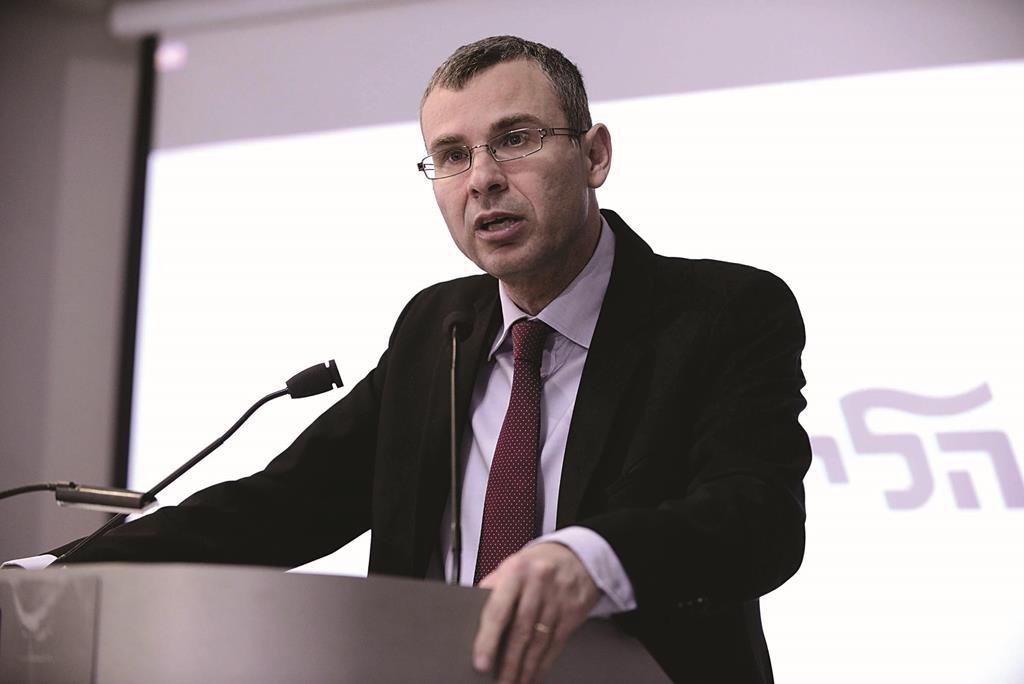 Likud MK Yariv Levin speaking at a press conference of the Likud on Sunday. (Tomer Neuberg/FLASH90)