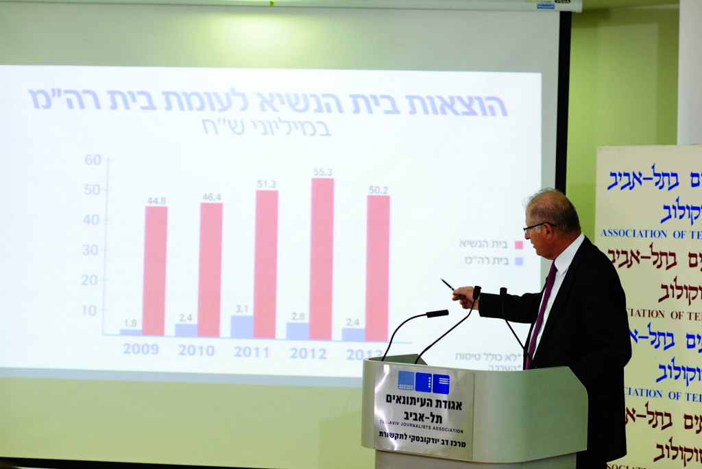 David Shimron, attorney for the Likud political party, using a chart to explain the spending practices of the Prime Minister's Residence, a day after a report from the state comptroller. (Ben Kelmer/Flash90)