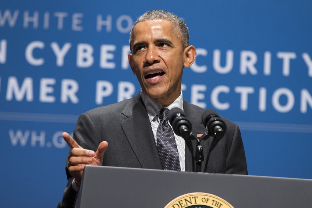 President Barack Obama speaks during a summit on cybersecurity and consumer protection on Friday, Feb. 13, 2015 at Stanford University in Palo Alto, Calif. (AP Photo/Evan Vucci)