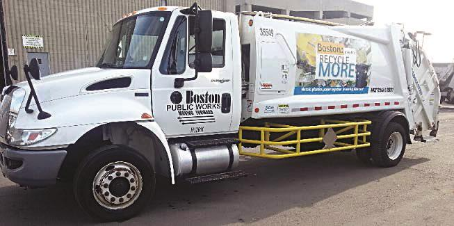 A Boston sanitation truck outfitted with side guards.