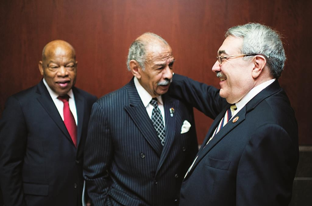 Rep. G.K. Butterfield (D-N.C.)(R) and Rep. John Lewis (D-Ga.)(L) said they won't come to Netanyahu's speech. Rep. John Conyers (D-Mich.) is in the center. (Bill Clark/CQ Roll Call)