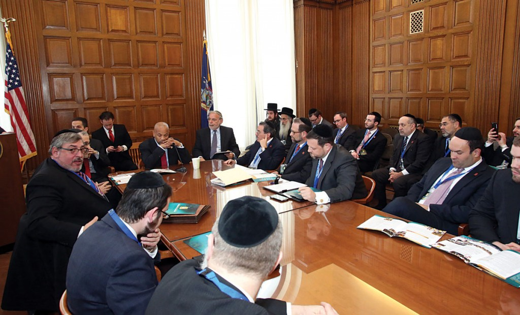 At the meeting with members of the Assembly including the newly-elected Speaker in Albany. (Moishe Gershbaum)