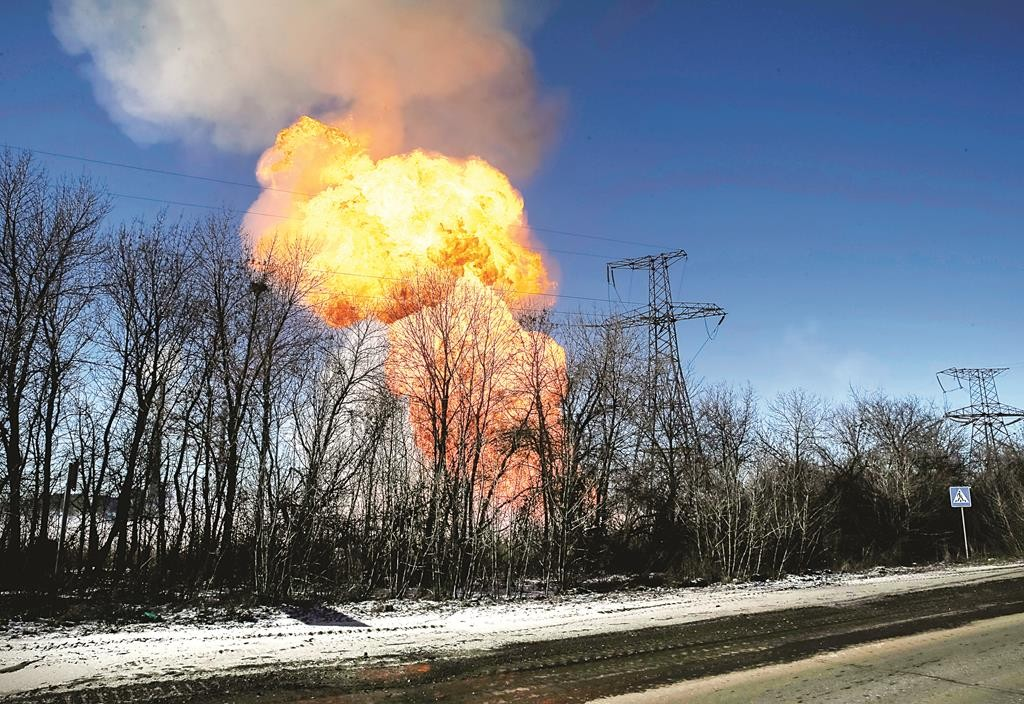 A view of an explosion after shelling is seen not far from Debaltseve, Tuesday.  (REUTERS/Gleb Garanich)