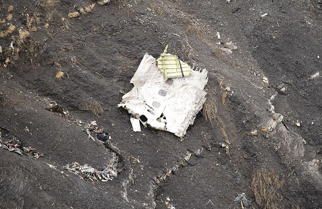 Balsamo, Gendarmerie Nationale Debris of the crashed Germanwings passenger jet scattered on the mountain side near Seyne-les-Alpes, French Alps, Wednesday. ()AP Photo/Fabrice)