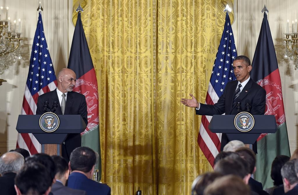President Barack Obama speaks during a joint news conference with Afghan President Ashraf Ghani, Tuesday, in the East Room of the White House in Washington.  (AP Photo/Susan Walsh)